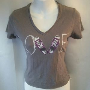 Converse Distressed Cropped T-shirt Graphics, S
